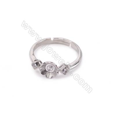 Sterling silver platinum plated adjustable rings  ring findings for half drilled beads  diameter 17mm  tray 4mm pin 0.8mm  X 1pc