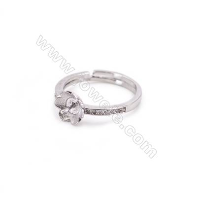 Platinum plated sterling silver adjustable finger ring findings  zircon micropave  diameter 17mm  tray 3mm  pin 0.9mm  X 1pc
