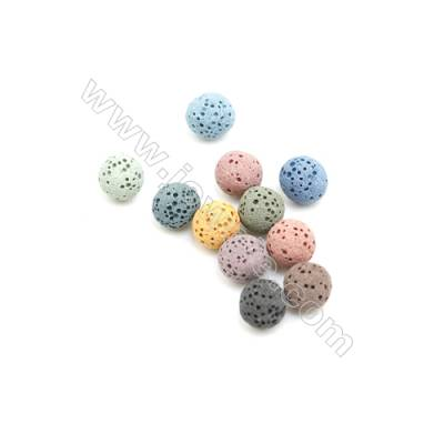 8mm Multicolored Lava Rock Loose Beads, Round, 400pcs/pack