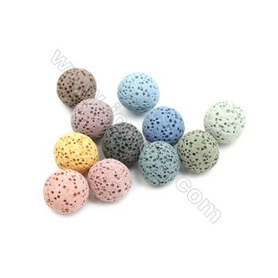 12mm Multicolored Lava Rock Loose Beads, Round, 300pcs/pack