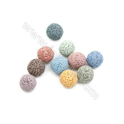 14mm Multicolored Lava Rock Loose Beads, Round, 300pcs/pack