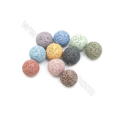 16mm Multicolored Lava Rock Loose Beads, Round, 200pcs/pack