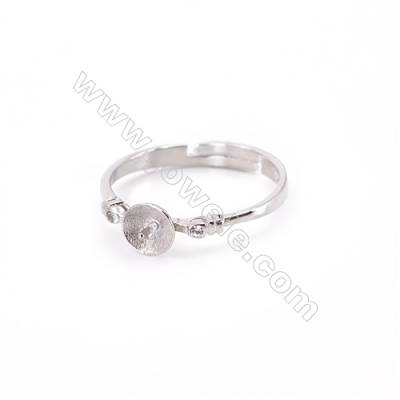 Sterling silver platinum plated adjustable finger ring  ring findings for half drilled beads  diameter 17mm  tray 5mm pin 0.8mm