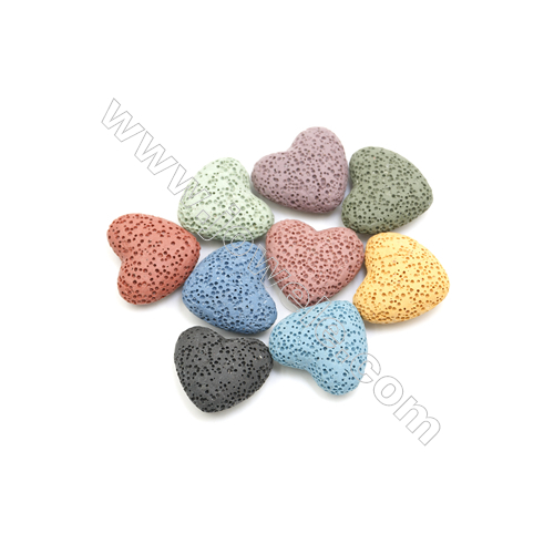 24x22mm Multicolored Lava Rock Loose Beads, Heart, Thick 10mm, 150pcs/pack
