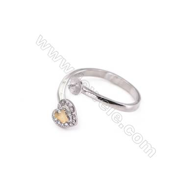 Sterling silver platinum plated adjustable rings  zircon ring for half drilled beads  diameter 17mm  tray 5mm  pin 0.6mm  X 1pc