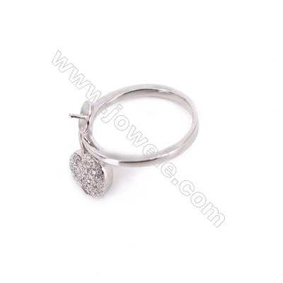 Sterling silver platinum plated adjustable rings  zircon finding for half drilled beads  diameter 16mm  tray 5mm pin 0.8mm X 1pc