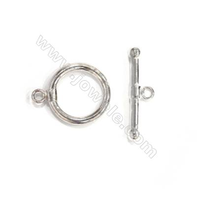 Doreen Beads toggle clasps, round, 925 sterling silver, 18mm, x 5 pcs