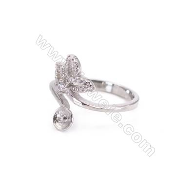 Wholesale Sterling silver platinum plated adjustable finger ring findings  zircon micropave  diameter 16mm  tray 6mm  pin 0.9mm