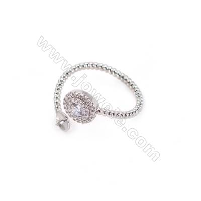 Sterling silver platinum plated adjustable rings  ring findings for half drilled beads  diameter 18mm  tray 5mm pin 0.6mm  X 1pc