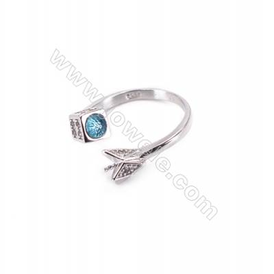 Sterling silver platinum plated adjustable finger ring findings  zircon micropave  diameter 17mm  tray 3mm  pin 0.9mm  X 1pc