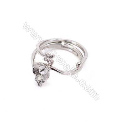 Sterling silver platinum plated adjustable rings  ring findings for half drilled beads  diameter 16mm  tray 3mm pin 0.7mm  X 1pc