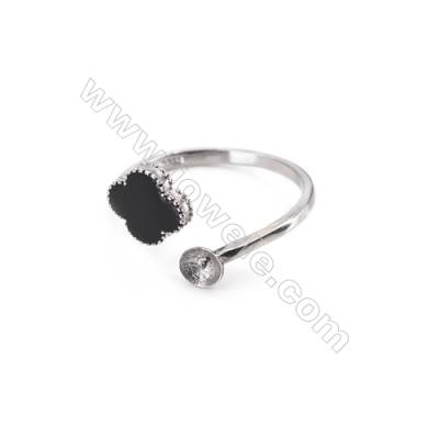 Sterling silver platinum plated adjustable finger ring findings-G3S9     diameter 18mm   tray 5mm   pin 0.9mm X 1piec