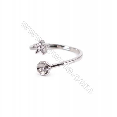 Sterling silver platinum plated adjustable finger ring findings  zircon micropave  diameter 17mm  tray 5mm  pin 1.0mm X 1pc