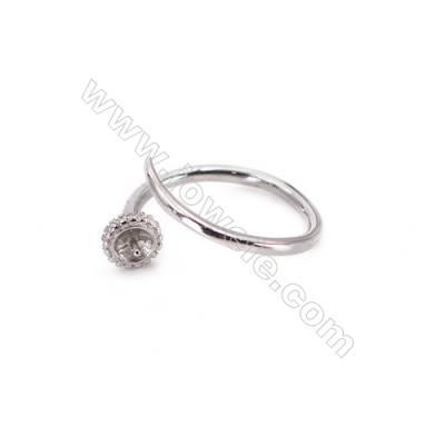 Sterling silver platinum plated adjustable finger ring findings  zircon micropave  diameter 17mm  tray 4mm  pin 0.9mm X 1pc