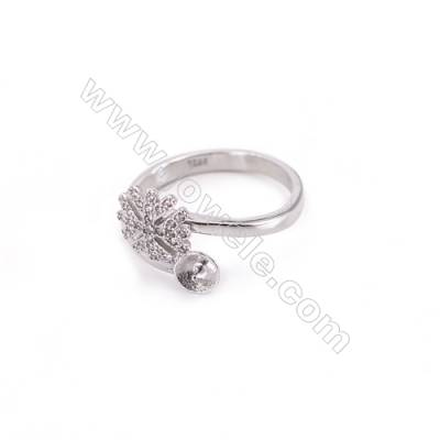 Sterling silver platinum plated adjustable finger ring findings  zircon micropave  diameter 17mm  tray 5mm  pin 0.7mm X 1pc
