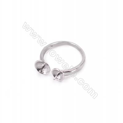 Platinum plated sterling silver adjustable finger ring findings-O3S10   diameter 16mm  tray 6 & 5mm  pin 0.8mm X 1piec