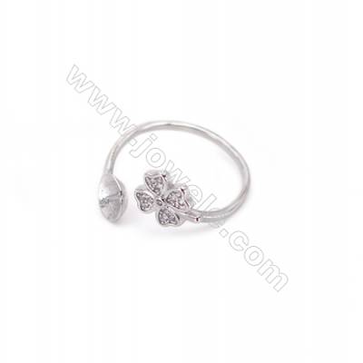 Adjustable sterling silver platinum plated rings  zircon ring for half drilled beads  diameter 17mm  tray 6mm pin 0.8mm X 1pc