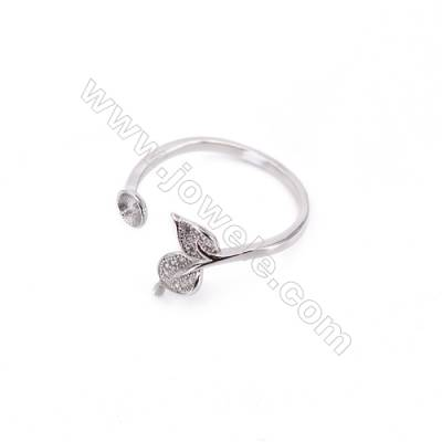 Platinum plated sterling silver adjustable finger ring zircon micropave findings  diameter 18mm  tray 4mm  pin 0.7mm X 1pc