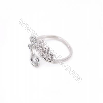 Adjustable sterling silver platinum plated rings  zircon ring for half drilled beads  diameter 17mm  tray 7mm pin 0.9mm X 1pc