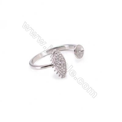 Platinum plated sterling silver adjustable finger ring zircon micropave findings  diameter 17mm  tray 5mm  pin 0.7mm X 1pc