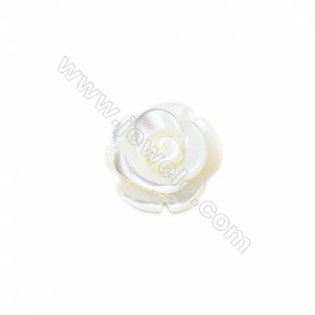 White mother-of-pearl rose shell, 12mm, hole 1.0mm, 30pcs/pack