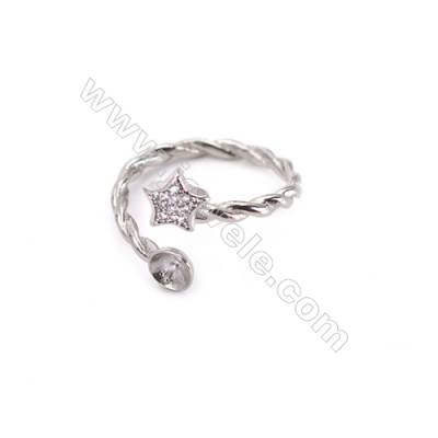 Adjustable sterling silver platinum plated rings  zircon ring for half drilled beads  diameter 16mm  tray 5mm pin 0.7mm X 1pc