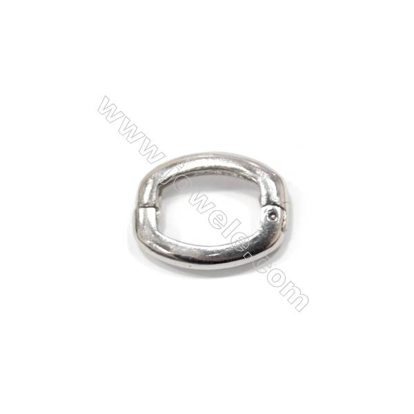 Sterling silver 925 square spring lock clasp, 14x18 mm, x 5 pcs