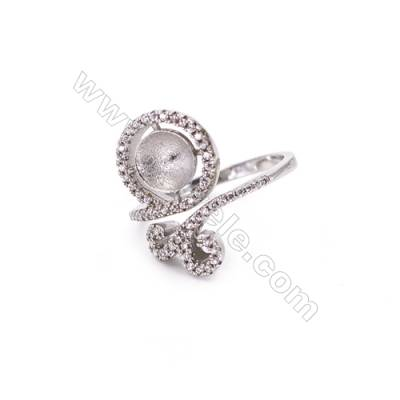 Adjustable sterling silver platinum plated rings  zircon ring for half drilled beads  diameter 17mm  tray 7mm pin 0.8mm X 1pc