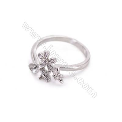 Adjustable sterling silver platinum plated rings  zircon ring for half drilled beads  diameter 17mm  tray 4mm pin 0.8mm X 1pc