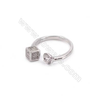 Platinum plated sterling silver adjustable finger ring zircon micropave findings  diameter 16mm  tray 5mm  pin 0.8mm X 1pc