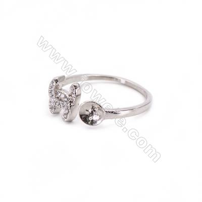 Platinum plated sterling silver adjustable finger ring zircon micropave findings  diameter 16mm  tray 5mm  pin 0.7mm X 1pc
