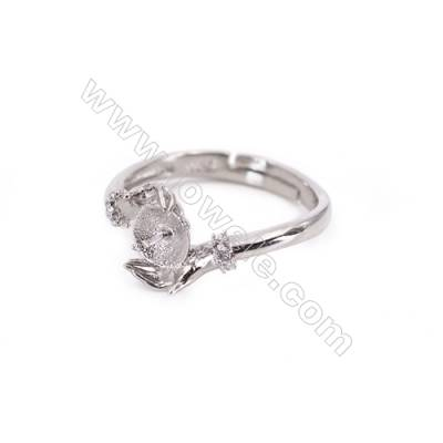 Adjustable sterling silver platinum plated rings  zircon ring for half drilled beads  diameter 17mm  tray 5mm pin 0.9mm X 1pc
