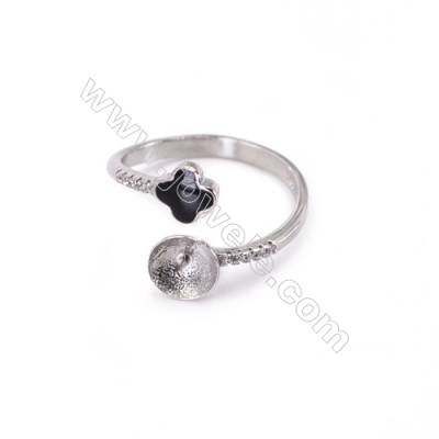 Adjustable sterling silver platinum plated rings  zircon ring for half drilled beads  diameter 17mm  tray 6mm pin 0.7mm X 1piec