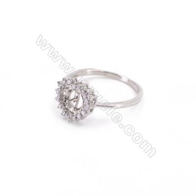 Sterling silver platinum plated closed finger ring-E3S3 zircon ring for half drilled beads  tray 5mm pin 0.7mm X 1piec