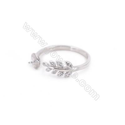 925 Sterling Silver Adjustable Finger Ring Charm-A4S1  Diameter 17mm  Tray 5mm  Pin 0.8mm  Rhodium Plated  Zircon Micro Pave