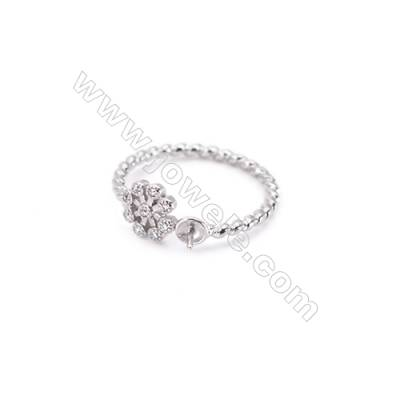 Platinum plated sterling silver adjustable finger ring zircon micropave findings  diameter 16mm  tray 3mm  pin 0.6mm X 1piec