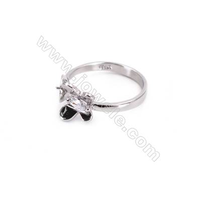 Platinum plated sterling silver adjustable finger ring zircon micropave findings  diameter 17mm  tray 6mm  pin 0.8mm X 1piec