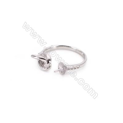 Platinum plated sterling silver adjustable finger ring zircon micropave findings  diameter 16mm  tray 5mm  pin 0.7mm X 1piec