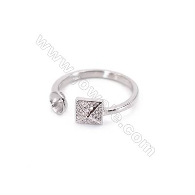 Platinum plated sterling silver adjustable finger ring zircon micropave findings  diameter 17mm  tray 5mm  pin 0.7mm X 1piec