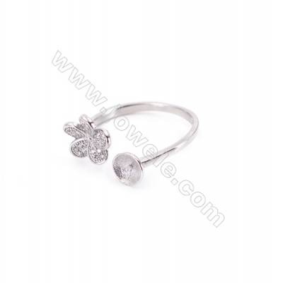 Platinum plated sterling silver adjustable finger ring zircon micropave findings  diameter 18mm  tray 6mm  pin 0.9mm X 1piec