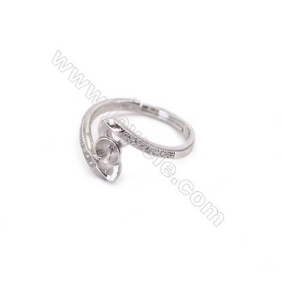 Platinum plated sterling silver adjustable finger ring findings-N3S7  diameter 16mm  tray 4mm  pin 0.8mm X 1piec