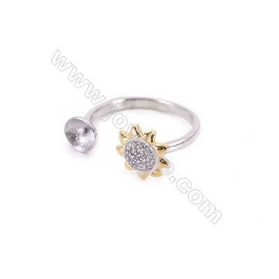 925 Sterling Silver Rings Plated Platinum Adjustable with Zircon Tray for Half-drilled beads Diameter 16mm Tray 5mm Pin 0.7mm
