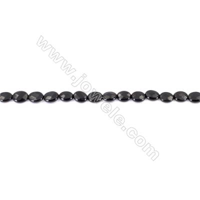 Natural Black Agate Beads Strands  Faceted Oval  Black  6x8mm  Hole: 1mm   50beads/strand  15~16''