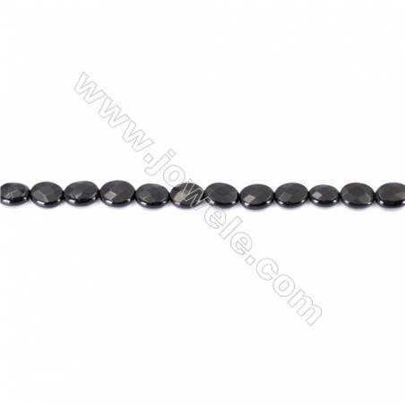 Natural Black Agate Beads Strands  Faceted Oval  Black  8x10mm  Hole: 1mm  39beads/strand  15~16''