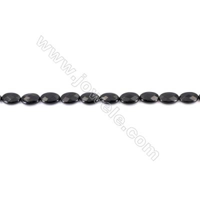 Natural Black Agate Beads Strands  Faceted Oval  Black  8x12mm  Hole: 1mm   33beads/strand  15~16''