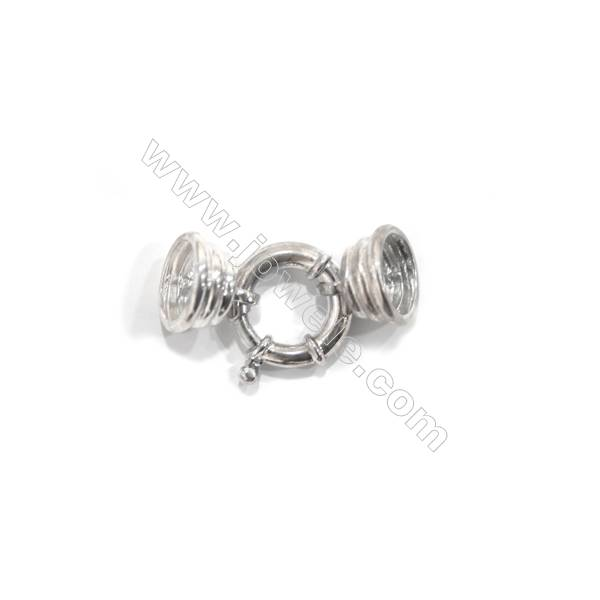 Sterling silver 925 clasp with two cord end caps for jewelry, 18mm, x 5 pcs