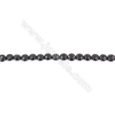 Natural Black Agate Beads Strands  Faceted Flat Round  10mm  Hole: 1mm   39 beads/strand  15~16''