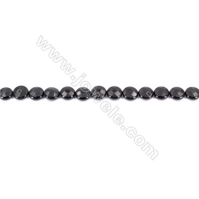 Natural Black Agate Beads Strands  Faceted Flat Round  12mm  Hole: 1mm   33 beads/strand  15~16''