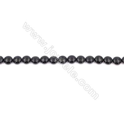 Natural Black Agate Beads Strands  Flat Round  10mm  Hole: 1mm   40 beads/strand  15~16''
