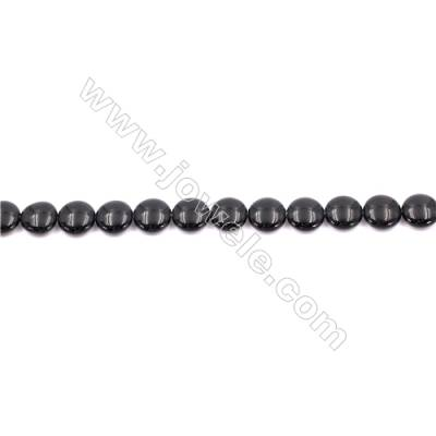 Natural Black Agate Beads Strands  Flat Round  12mm  Hole: 1mm   33 beads/strand  15~16''